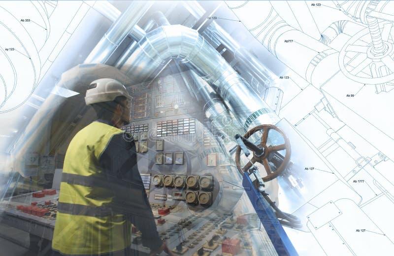 工作在能源厂的工程学人作为操作员 库存图片