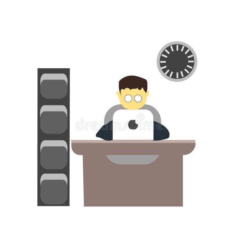 工作在膝上型计算机传染媒介传染媒介标志和标志的年轻男孩隔绝在白色背景,工作在膝上型计算机传染媒介商标的年轻男孩 库存例证