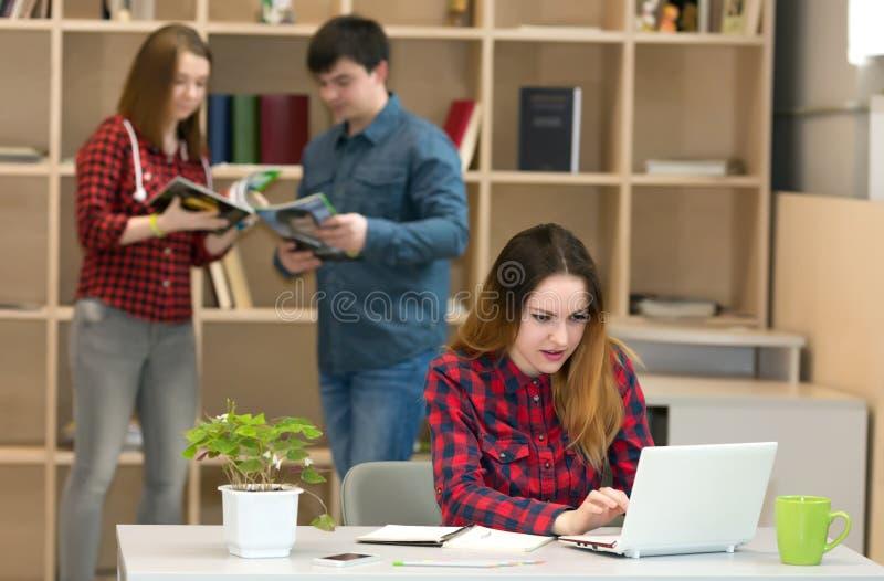 工作在膝上型计算机其他人民的少妇互动在背景 免版税库存照片