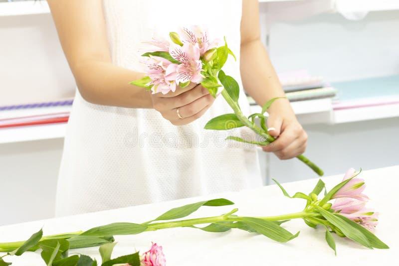 工作在花店的卖花人女孩 新鲜的春天花软的树荫,包裹在装饰纸 Floristry?? 免版税库存照片