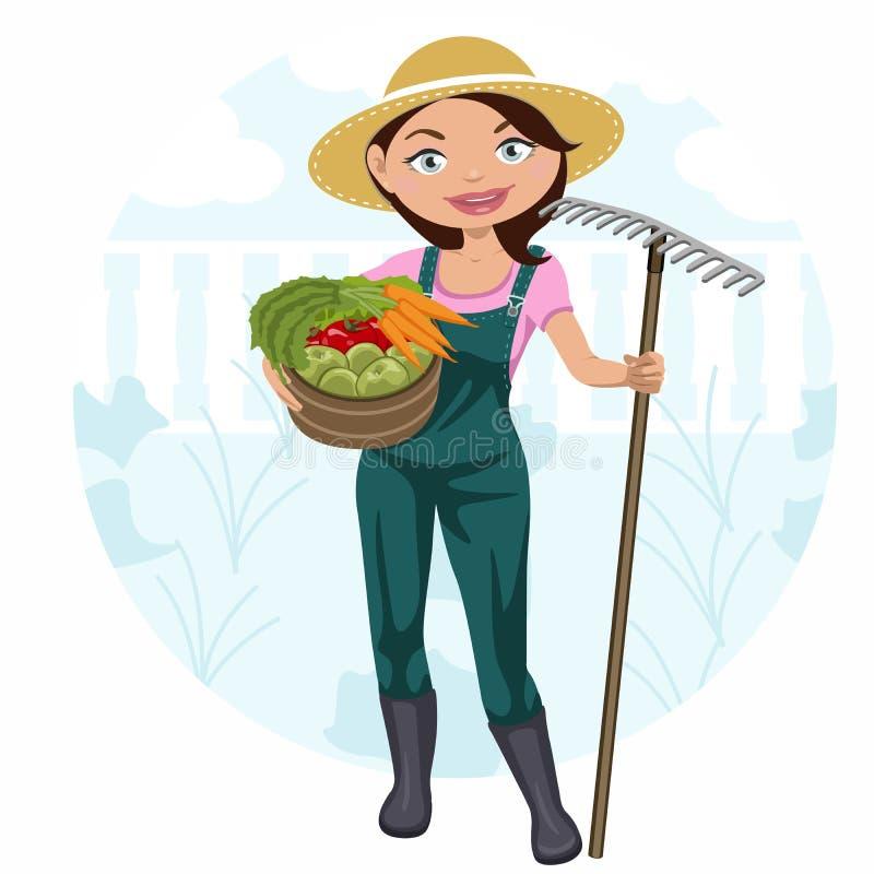 工作在菜园里的妇女 库存例证