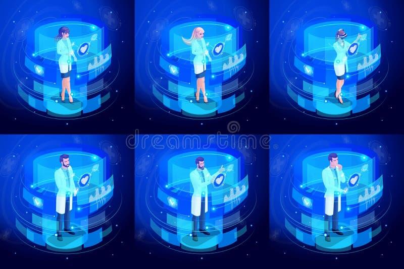 工作在虚屏上的等量套医生,遥控医疗生命维持设备 高科技 库存例证
