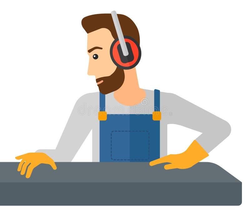 工作在钢辗压磨房的人 向量例证