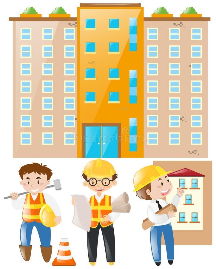 工作在建筑工地的工程师和工头 皇族释放例证