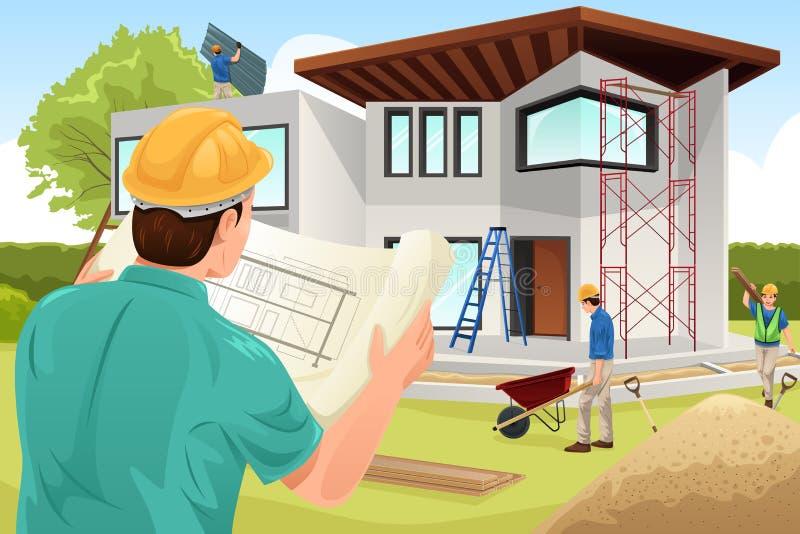 工作在建造场所的建筑师 皇族释放例证