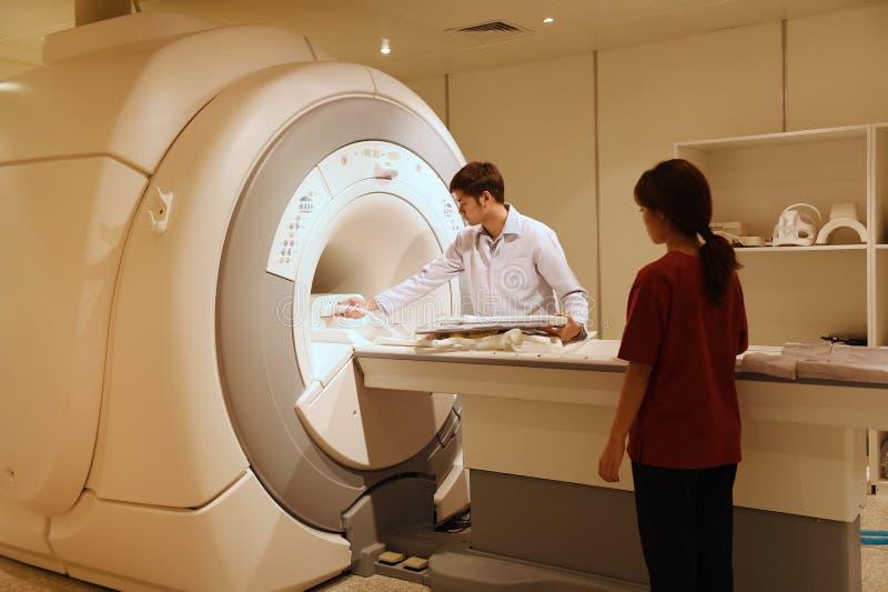 工作在MRI扫描器室的兽医医生 库存照片