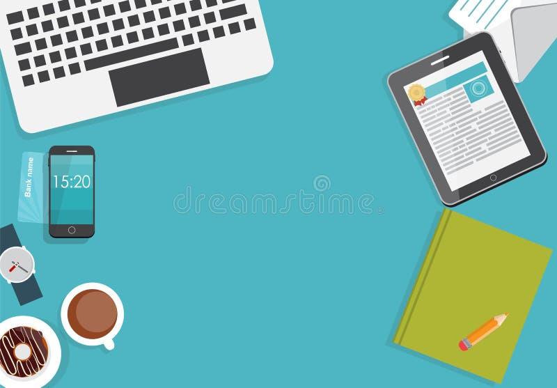 工作地点现代办公室内部平的设计 库存例证