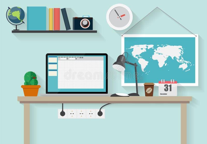 工作地点现代办公室内部平的设计 向量例证