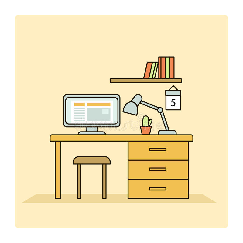 工作地点的线性平的室内设计例证 皇族释放例证