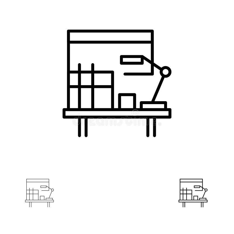 工作场所、书桌、办公室,表大胆和稀薄的黑线象集合 向量例证