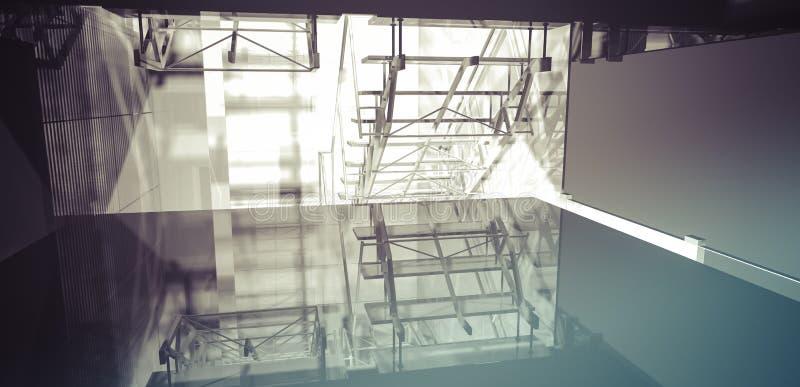 工作场所。现代办公室内部,台阶,在busine的干净的空间 向量例证