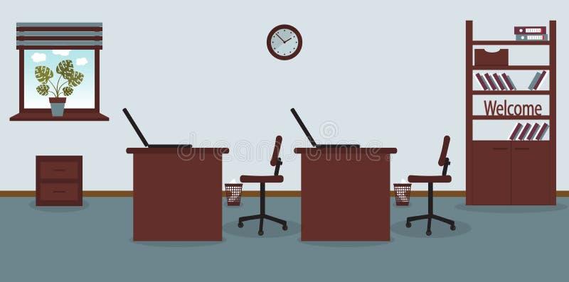 工作场所内部在办公室浅兰的背景的 r 家具:桌,椅子,内阁与 向量例证