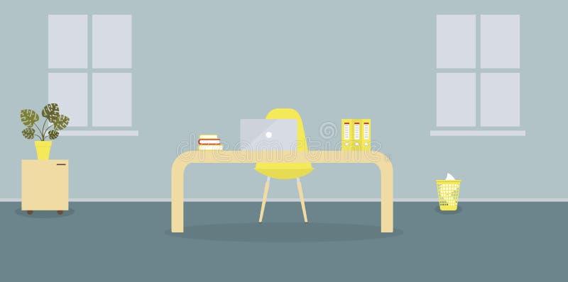 工作场所内部在斯堪的纳维亚样式的现代办公室 两个窗口 r 家具:桌,椅子, 库存例证