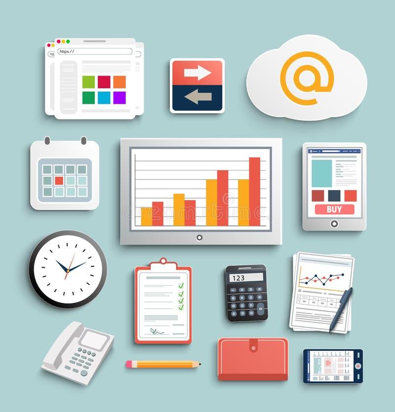 工作场所办公室和企业工作元素集 向量例证