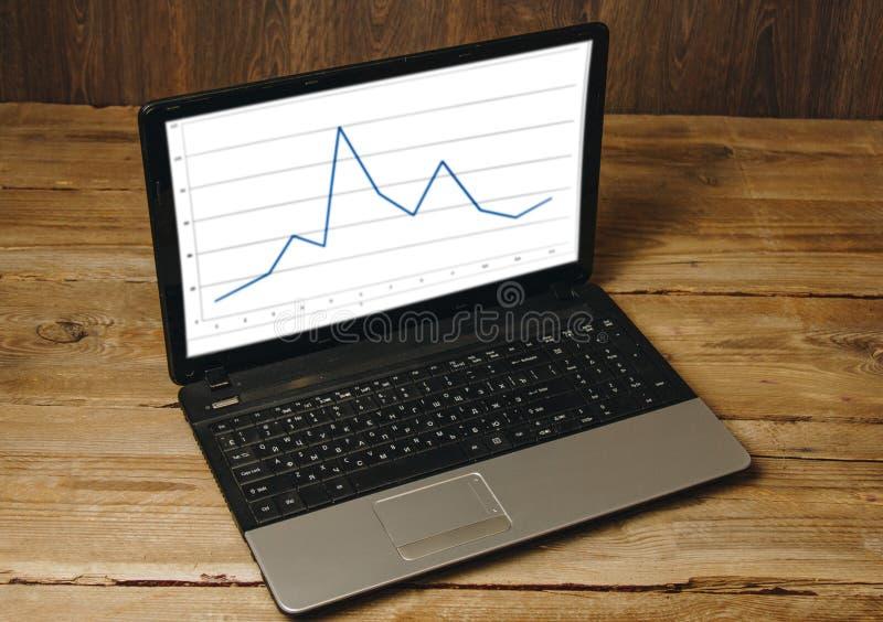工作场所博客作者 设置为为演说和书写文本做准备:在一个木台式视图的膝上型计算机 自由职业者的工作 免版税图库摄影