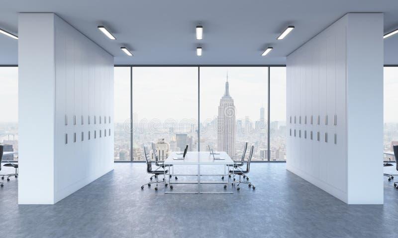 工作场所在一个明亮的现代露天场所办公室 现代膝上型计算机和黑椅子装备的白色桌 向量例证