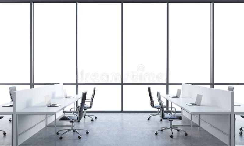 工作场所在一个明亮的现代露天场所办公室 用现代膝上型计算机和黑椅子装备的白色桌 在t的白色拷贝空间 向量例证