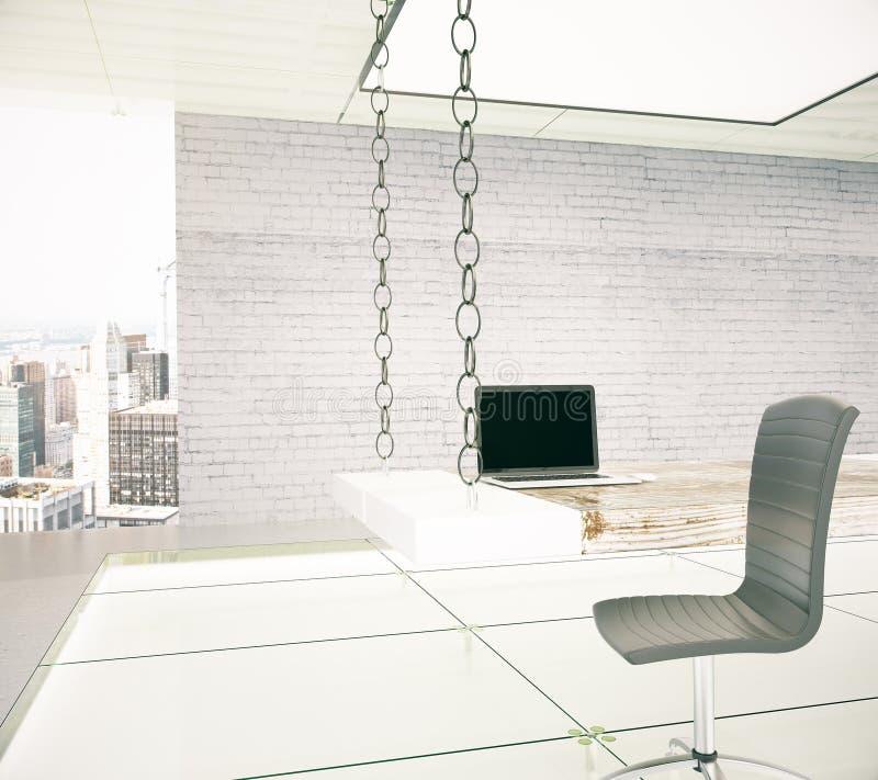 工作场所在一个现代露天场所办公室 库存例证