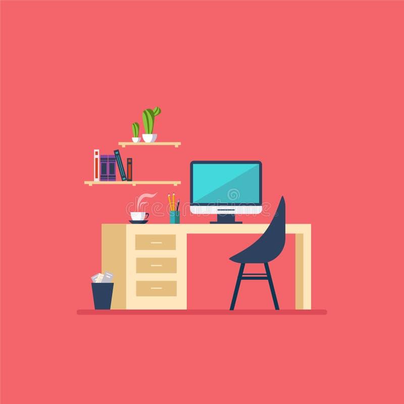 工作场所在屋子平的minimalistic样式里 皇族释放例证