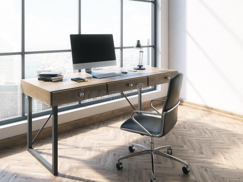 工作场所在明亮的办公室 库存例证