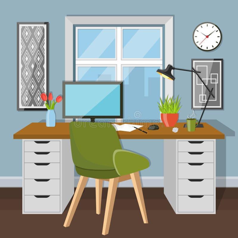 工作场所在有窗口的屋子里 向量例证