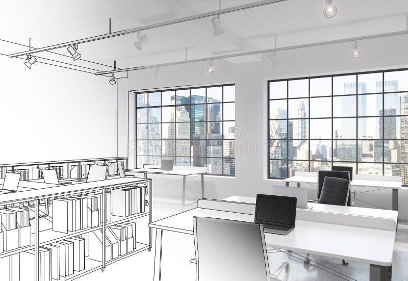 工作场所在现代顶楼露天场所办公室 向量例证