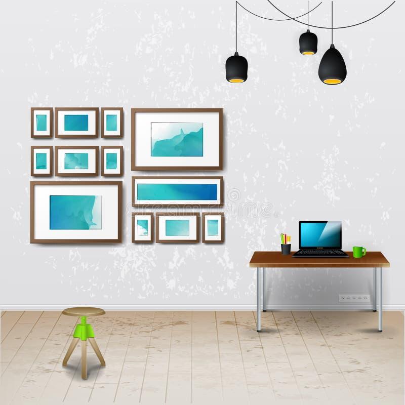 工作场所室 现代办公室的传染媒介例证 时髦和现代内部 库存例证