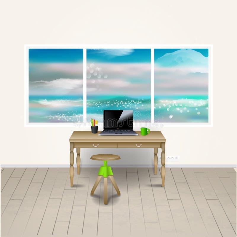 工作场所室 现代办公室的传染媒介例证 时髦和现代内部 向量例证