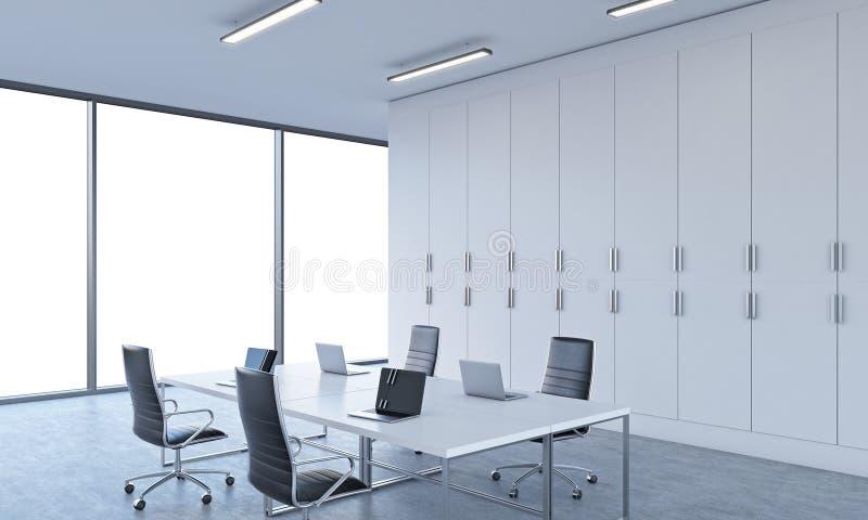 工作场所或会议区域在一个明亮的现代露天场所办公室 向量例证