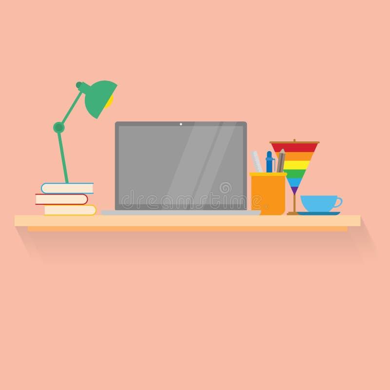 工作场所概念 工作有膝上型计算机的,书,咖啡,灯, lgbt旗子书桌 皇族释放例证