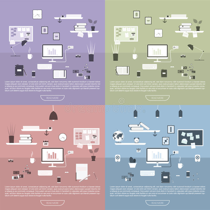 工作场所现代设计  库存例证