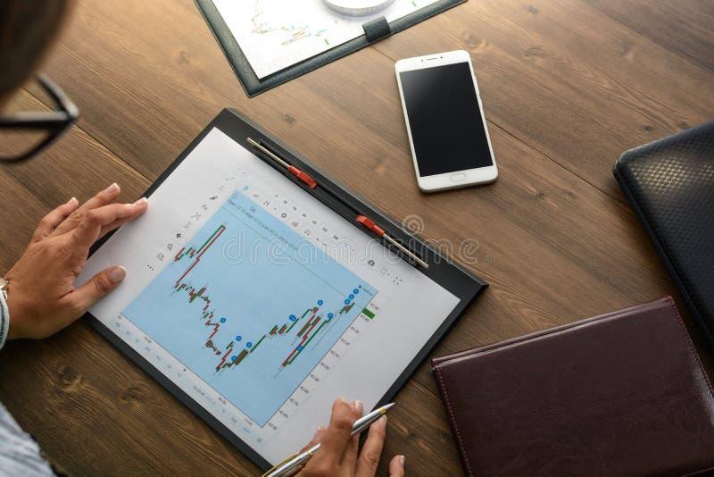 工作场所的女商人在木办公室桌上在计算器, talki分析数据,日程表,定价,做演算 免版税库存照片