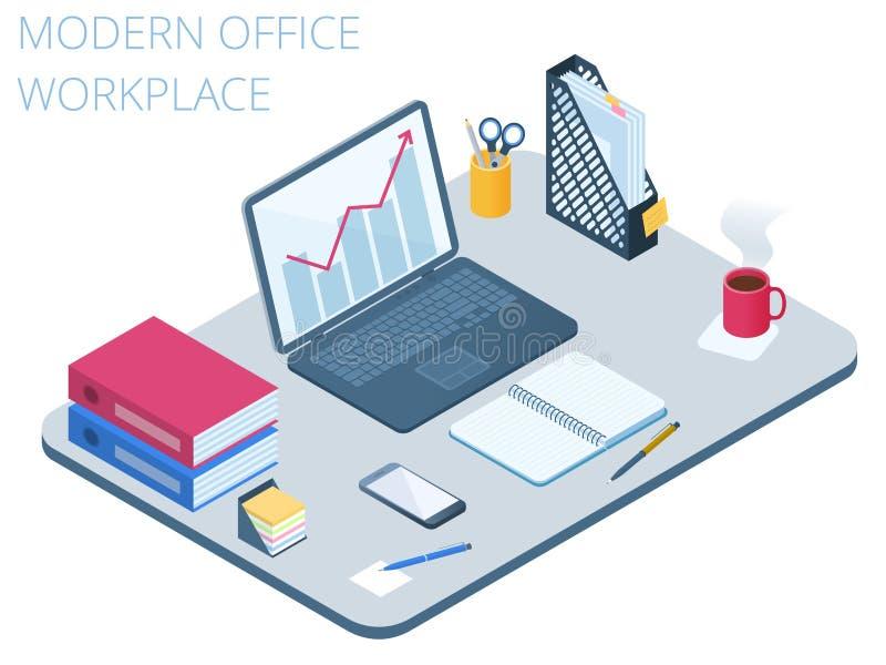 工作场所的平的等量例证 传染媒介工作书桌3d co 皇族释放例证