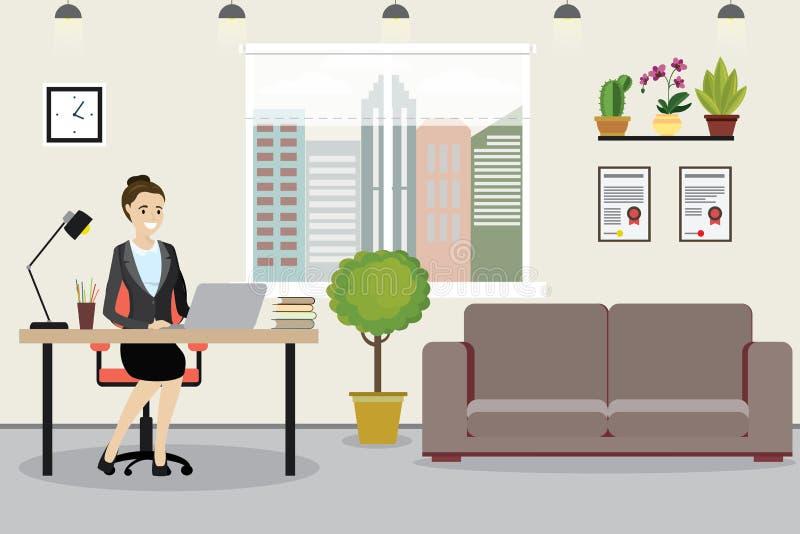 工作场所的秀丽白种人女商人现代事务的 向量例证
