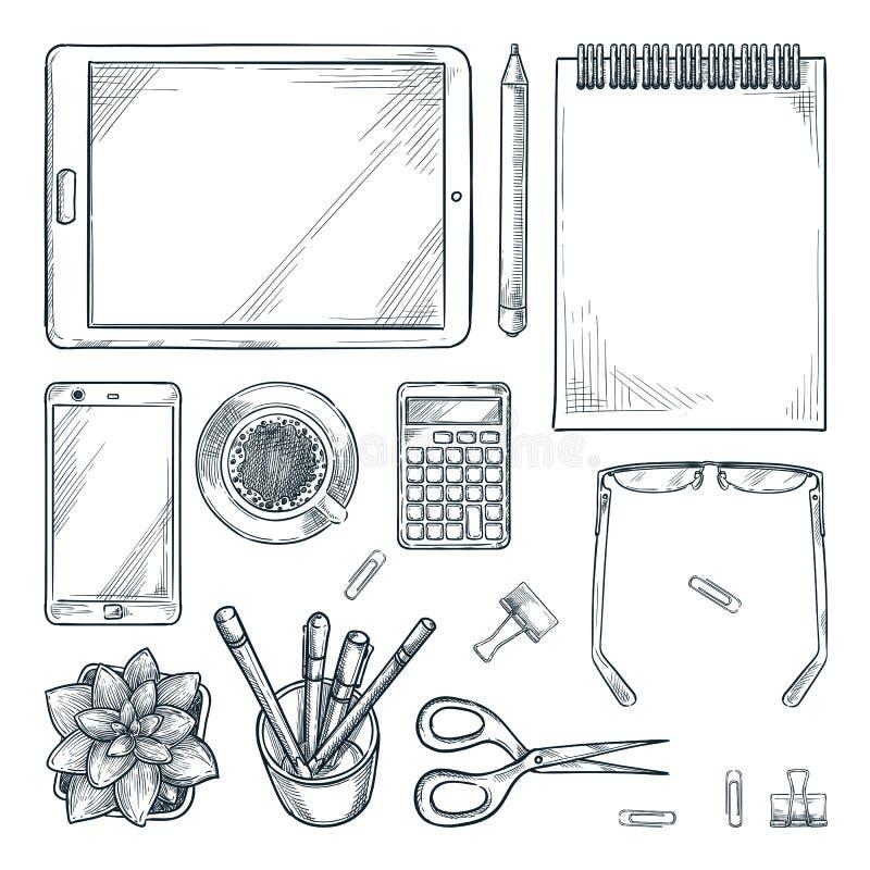 工作场所设计元素,隔绝在白色背景 传染媒介剪影办公室桌文具的顶视图例证 库存例证