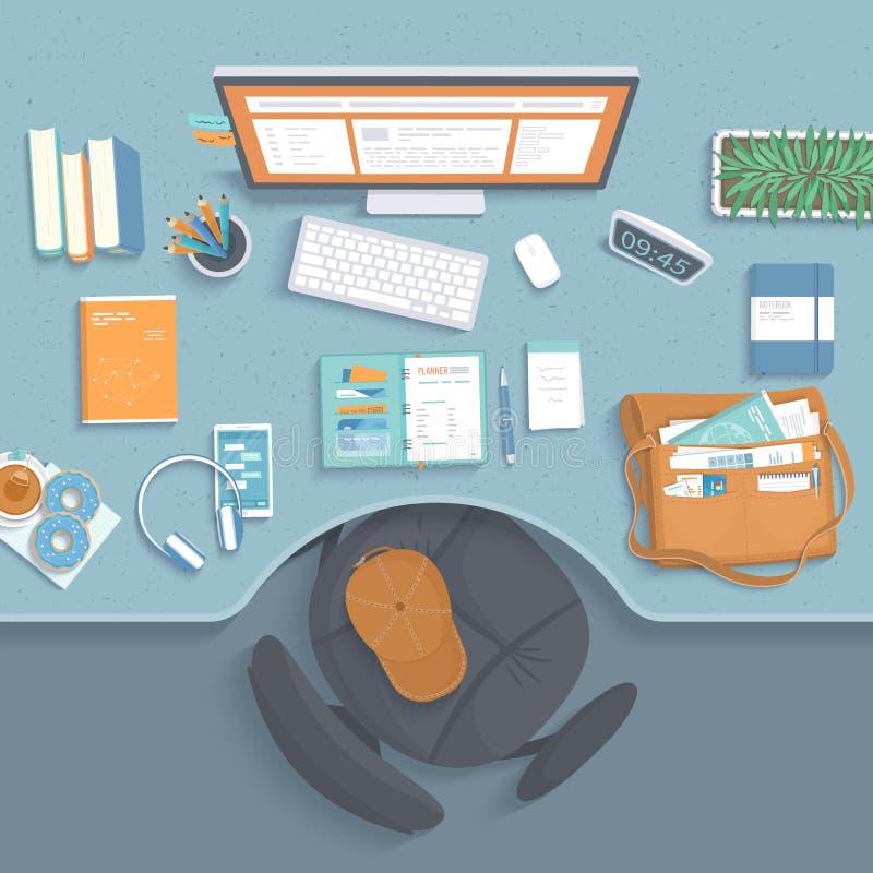 工作场所顶视图  与凹进处的表,扶手椅子,显示器,书,笔记本,耳机 皇族释放例证