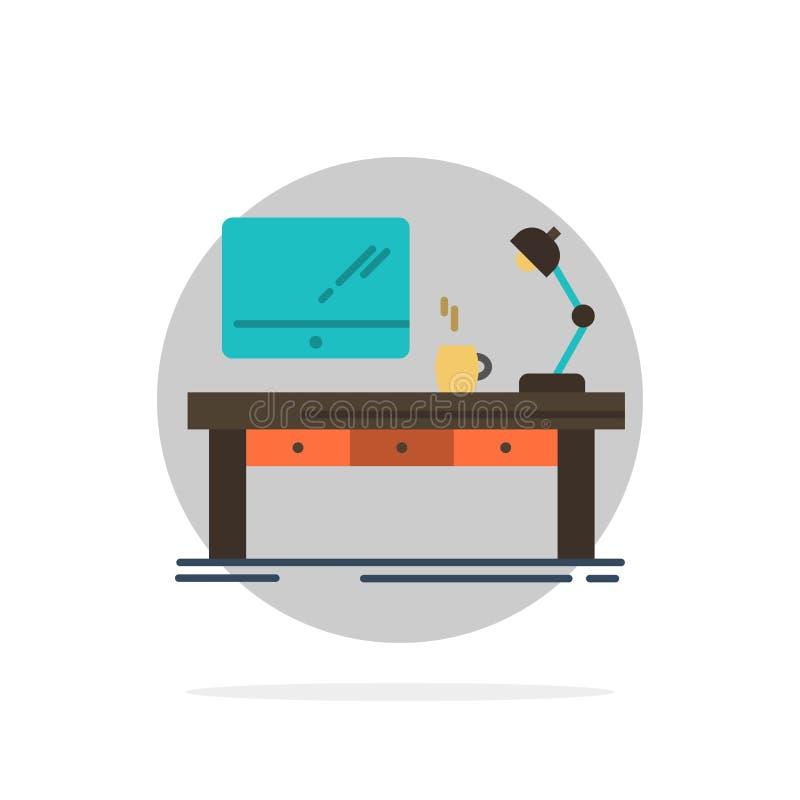 工作场所,事务,计算机,书桌,灯,办公室,表摘要圈子背景平的颜色象 向量例证