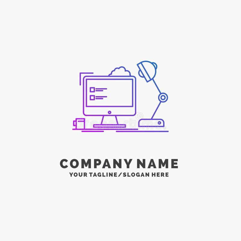 工作场所,工作站,办公室,灯,计算机紫色企业商标模板 r 向量例证