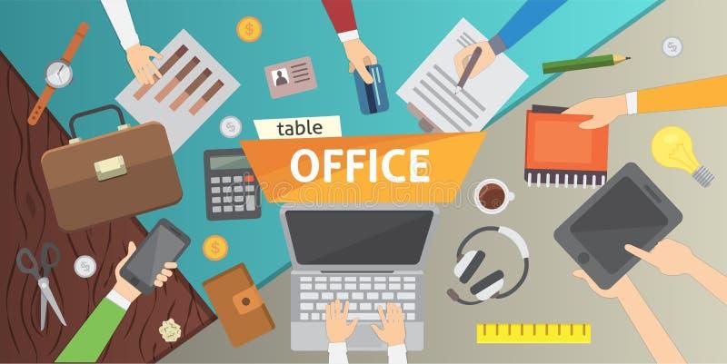 工作场所 办公室桌 在队现代平的设计的工作 皇族释放例证