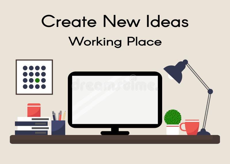 工作场所 家庭工作场所 3d例证图象办公室工作场所 库存例证