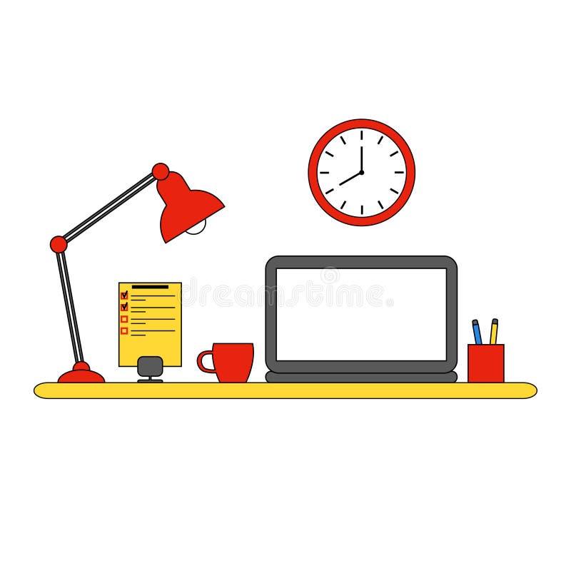 工作场所 膝上型计算机,灯,笔记本,时钟 皇族释放例证