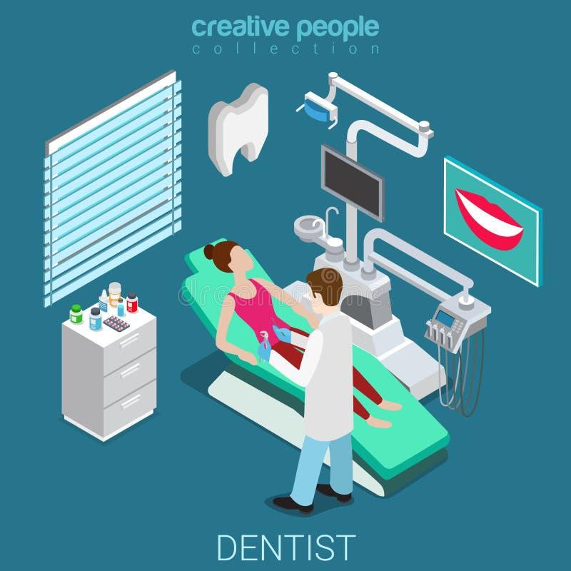 工作室内部设备平的等量传染媒介的3d牙医 向量例证