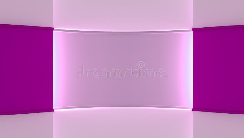工作室 任何绿色屏幕chromakey生产的完善的背景 紫罗兰色和白色背景,紫罗兰色墙壁 3d 皇族释放例证