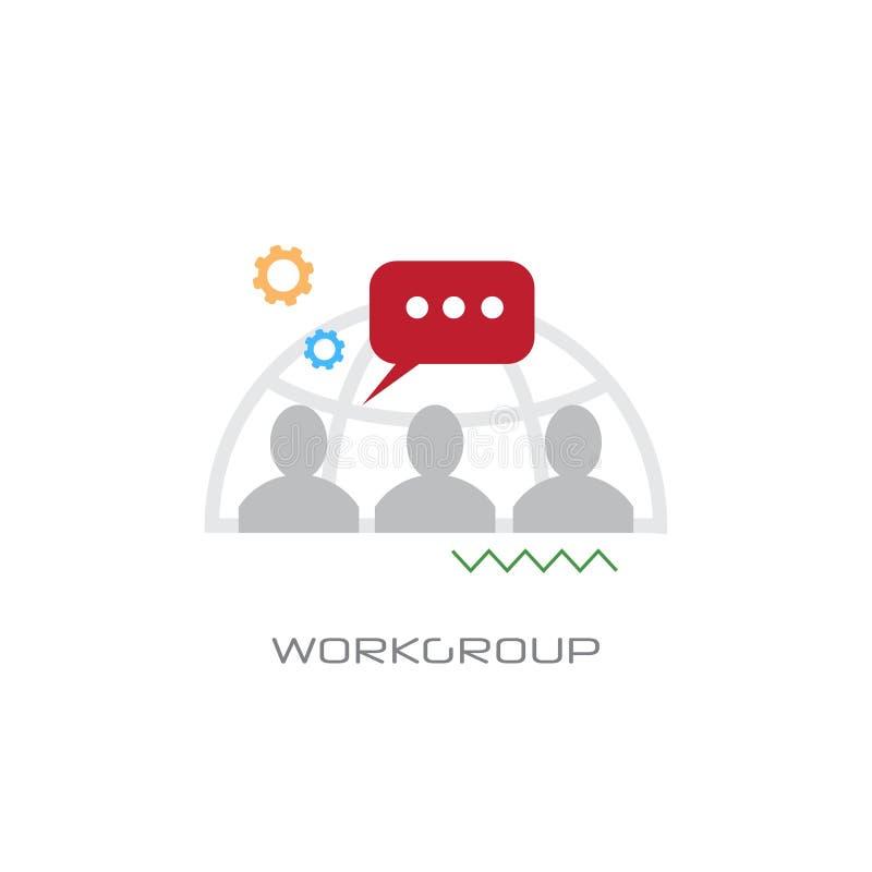 工作小组管理企业队全球性言语交际领导工作小组聚会概念线型白色 库存例证