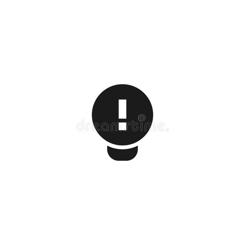 工作理念图标设计 带感叹号的灯泡 简洁专业业务管理概念向量 库存例证