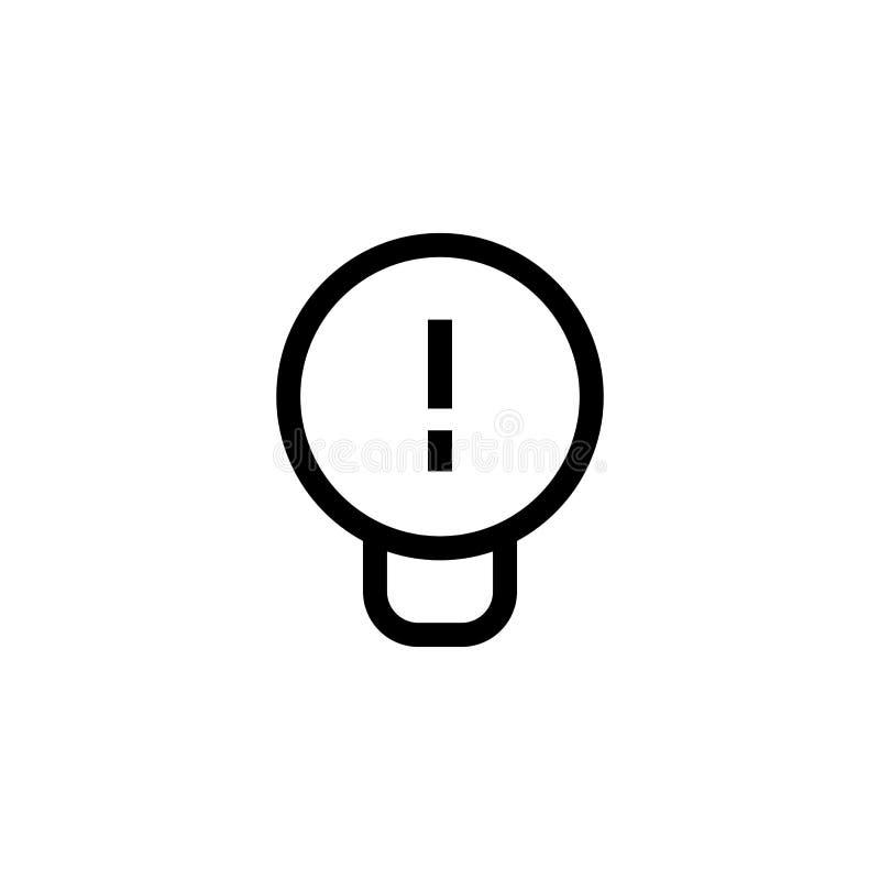 工作想法象设计 与惊叹号标志的电灯泡 简单的干净的线艺术专业业务管理概念 向量例证