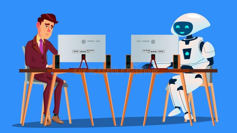 工作机器人对在计算机传染媒介的疲乏的商人工作 按钮查出的现有量例证推进s启动妇女 向量例证