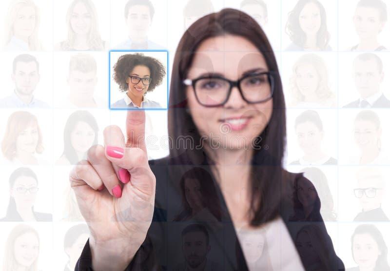工作查找概念-女实业家按虚构的按钮 库存图片