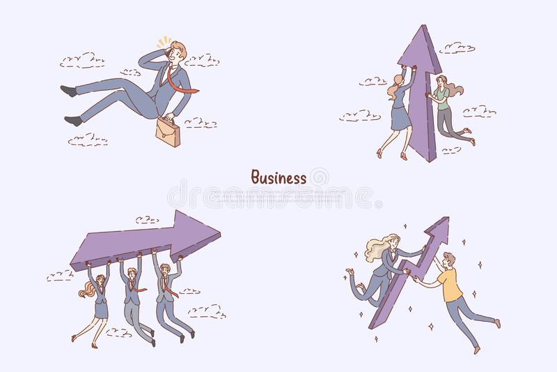 工作查找,同事合作,配合改善,事业成长,促进隐喻,企业精神横幅 皇族释放例证