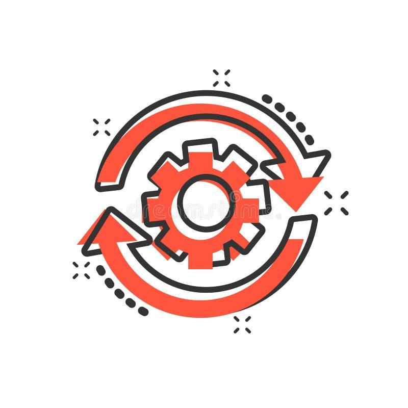 工作流在可笑的样式的过程象 齿轮有箭头传染媒介动画片例证图表的嵌齿轮轮子 工作流企业概念 皇族释放例证